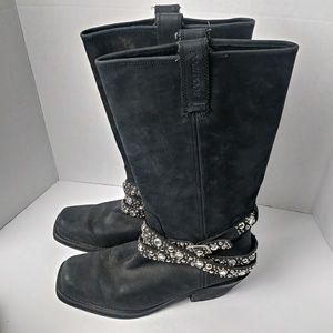 Rocket Dog Black Leather Silver Stud Cowboy Boots